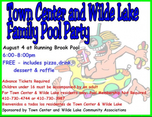 Town Center and Wilde Lake Family Pool Party @ Running Brook Pool | Columbia | Maryland | United States